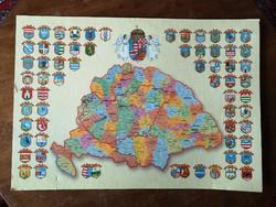 Nagy Magyarország történelmi térkép, megyei és ország címerrel
