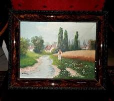 """Jelzett, """"Erdődy"""" olajfestmény, vásznon kerettel együtt 41x33 cm"""