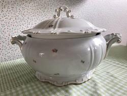 Zsolnay barokk apróvirágos leveses tál