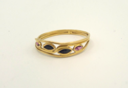 Zafír, rubin köves18 karátos gyűrű Jelzett 1,5 g