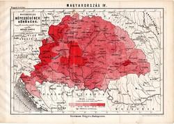 Magyarország népességének sűrűsége, térkép 1885, Hátsek Ignácz, 20 x 28 cm, népsűrűség, Erdély