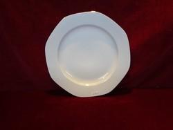 JRJS porcelán, hófehér lapos tányér, arany szegélyes.