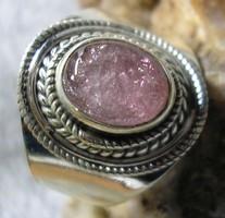 925 ezüst gyűrű, 18,3/57,5 mm, pink turmalinnal