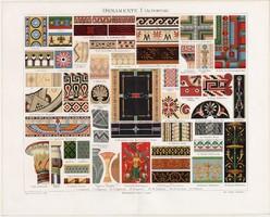 Díszitmények I, színes nyomat 1894, német, litográfia, dísz, eredeti, ókor, ornamentum, dekoráció