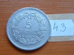 FRANCIA 5 FRANCS FRANK 1946 ALU. 43.