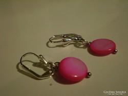 Rózsaszin kagylógyöngyös  olcsó fülbevaló