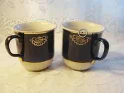 2 db nagyméretű régi  orosz kobaltkék arany mintázatú porcelán teáscsésze  3,5 dl együtt
