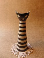 Zsolnay porcelán art deco csíkos macska váza