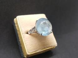 10Cts Modern Akvamarin Ezüst Állítható Méretű Gyűrű Szép Tiszta Kő