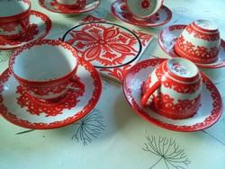Porcelán mokkás kávés, hibátlan + kézzel festett alátét Inczéné Sárkány Ilona