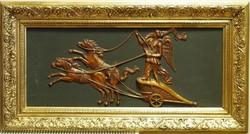 Római harci szekeret / Bigá-t / hajtó Viktória,dombormű 35 x 85 cm ,keretttel / 55 x 103 / cm
