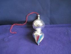 Régi üveg karácsonyfadísz pörgettyű 11 x 4 cm
