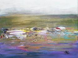 VELENCEI ARANY, KÜLÖNLEGES TÁJKÉP! Szignózott eredeti Absztrakt festmény, Közvetlen a művésztől!