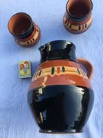 Retro Orosz Pecsétes Készlet - Nem használt - Kerámia Mázas Kiöntő + 4 pohár , kancsó boros