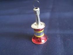 Régi üveg karácsonyfadísz miniatűr csengő harang 4 x 2 cm