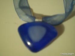 Kék ÜVEGOLVASZTÁSOS kézműves nyaklánc