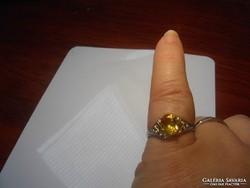 SÁRGA cirkonkőves 925-ös jelzésü gyűrű