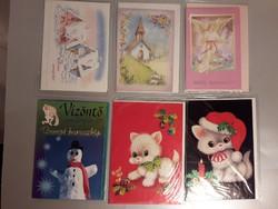 Régi karácsonyi nyitható képeslap borítékkal celofánban 6 darab