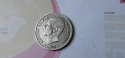 1884 Spanyol ezüst ezüst 5 peseta 25 gramm 0,900 szép db