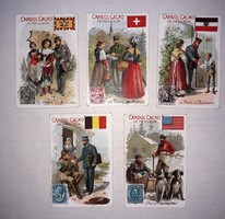 LOT - 5 db magyar csokoládé kakaó reklám kártya - Kandol-Kakao - T1 állapot