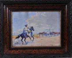 Benyovszky Isrván (1898-1969): Csikós a ménessel, akvarell