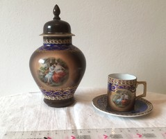 Csehszlovák kávéscsésze tányérral és fedeles urna - Victoria China