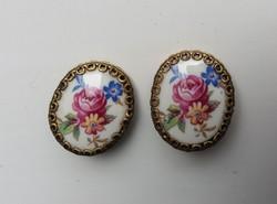 Rózsa mintás vintage Porcelán klipsz Fülbevaló