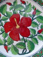 Gyönyörű nagyméretű falitányér kézzel festett ...