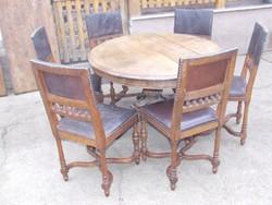 Reneszánsz faragott ebédlő garnitúra asztal hat szék bővíthető