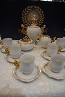 Hollóházi porcelán mokkás készlet 15. részes