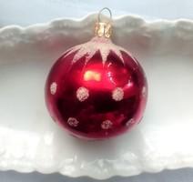 Üveg karácsonyfa dísz piros  pöttyös gömb 7cm