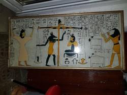 Nagy, 90 centis, zománcfestékkel üvegre festett egyiptomi téma, egész jó, háttérben selyem
