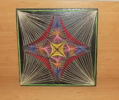 Retro cérna kép fali dísz fa táblán 32*32 cm