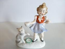 Antik német porcelán cicás kislány
