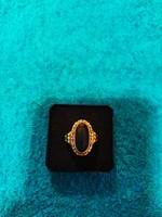Gyönyörű antik farkasfejes fémjeles női 14 K gyűrű!