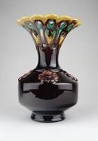 0Y926 Antik art deco osztrák mázas kerámia váza