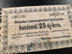 *** 1860-as Miskolcz 25 kkr  ***