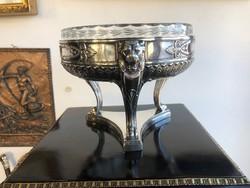 Empire Stilizált Oroszlános Ezüst Üvegbetétes Asztalközép Aufsatz