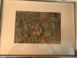 Zórád Ernő (Wallburg Egon) eredeti akvarell képe