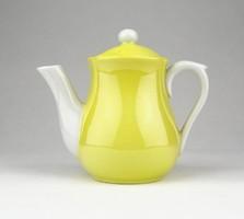 0Y948 Régi kisméretű citromsárga porcelán kiöntő