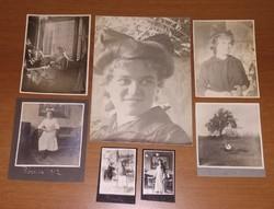 1912-1917-ben készült, 7 db antik, vintage, régi fotó egyben eladó: fiatal hölgy