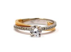 Fehér-rozé arany eljegyzési gyűrű (ZAL-Au80656)