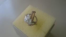 Ezüst gyűrű citrin sárga színű kővel és cirkonkövekkel diszitve 925
