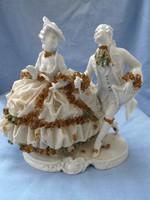 Nagyon finoman kidolgozott rokokó életkép német porcelán - sérülten
