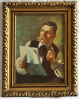 """""""Marossy Nagy"""" (Debrecen): Olvasó férfi pipával. 35,4 x 25 cm, aranyozott keretben. 1920-as évek"""