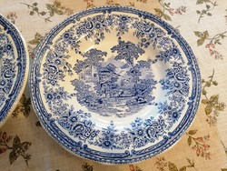 Angol, jelenetes tányérok (2 db, 25 cm átm). Gyönyörű, magasfényű, hibátlan darabok!