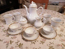 Gyönyörű fehér-arany porcelán készletek, minőségi, magasfényű, hibátlan, vastag aranyozású darabok!