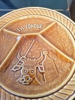 Sarreguemines, osztott/fondüs tányérok, magasfényű, sosem használt, különleges mintájú darabok!