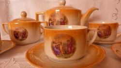 Régi eozin mázas  teás készlet