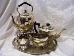 Ezüstözött, ritka, antik, klasszikus angol, spirituszégős vízmelegítővel tea vagy kávé szervírozó